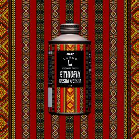 「UCC LARGO ETHIOPIA GESHA GEISHA」のパッケージデザイン